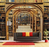 library entrance bookshelves