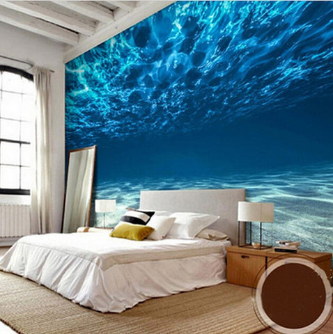 3d underwater ocean dolphins wallpaper mural wall art for Best 3d wallpaper for bedroom