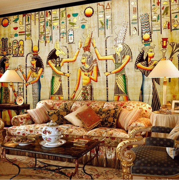 Calculate Wallpaper For One Wall: 3D Ancient Egyptian Characters Artwork Design Wallpaper