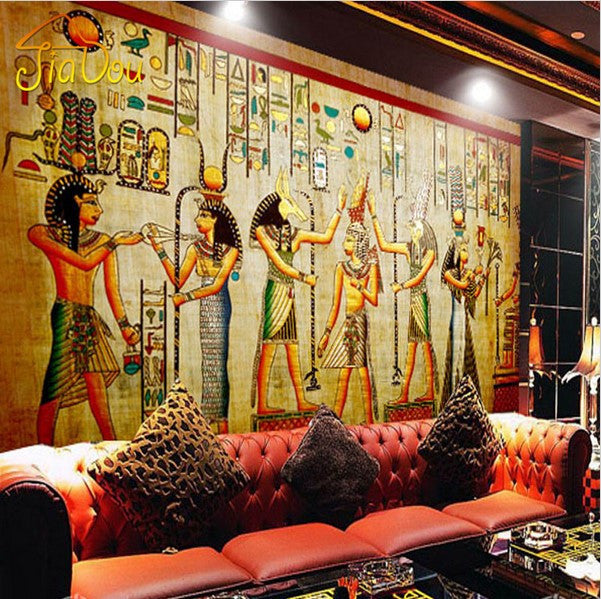 3d ancient egyptian characters artwork design wallpaper for Egyptian wallpaper mural