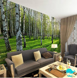 Three Dimensional birch trees wallpaper
