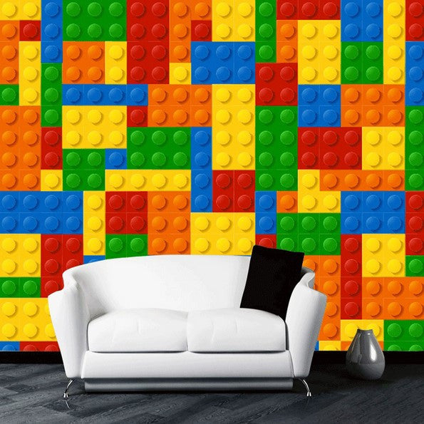 Room 2 Build Bedroom Kids Lego: Kid's Room Lego Blocks Design Wallpaper For Walls Mural