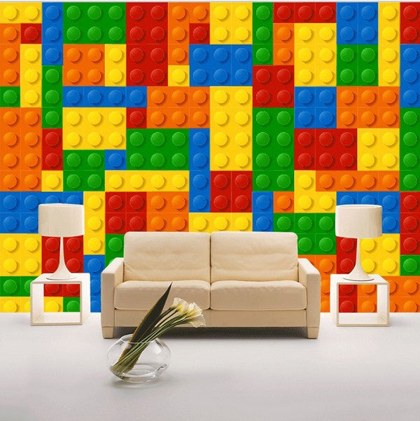 Calculate Wallpaper For One Wall: Kid's Room Lego Blocks Design Wallpaper For Walls Mural