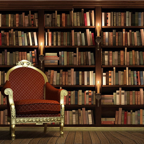 3d retro bookcase wallpaper