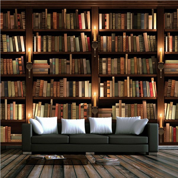 Retro Nostalgia 3d Bookcase Design Wallpaper For Walls