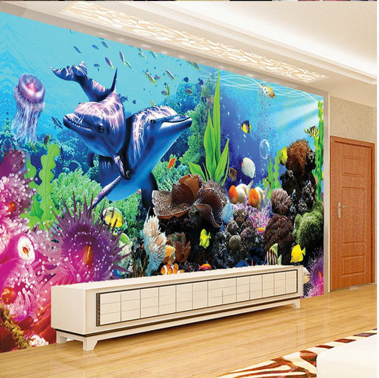 Beautiful wallpaper 3d dolphins wall mural wall decor for Decor mural 3d