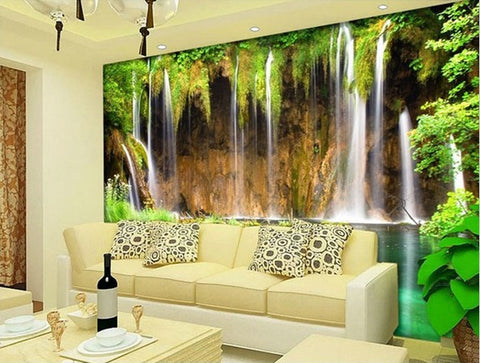 Forest Waterfall Pool Wallpaper