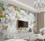 Stunning 3D Butterflies and Pearls Wallpaper Mural for Home or Business