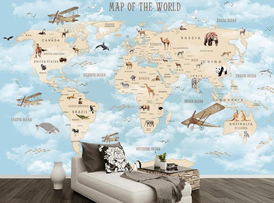 Cartoon World Map Wallpaper for Children Animals and Planes Wall Mural