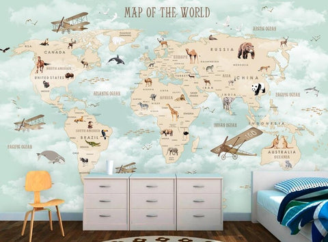 Cartoon world map for kids wallpaper animals and planes wall mural cartoon world map wallpaper mural cartoon map world map wall paper cartoon map for kids gumiabroncs Image collections