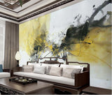 yellow black abstract mural