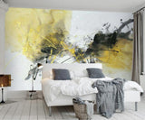 yellow oil painting abstract mural