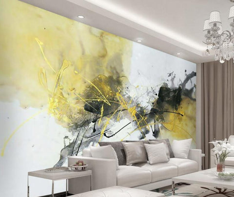 yellow abstract mural