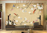 Chinese style birds flowers mural
