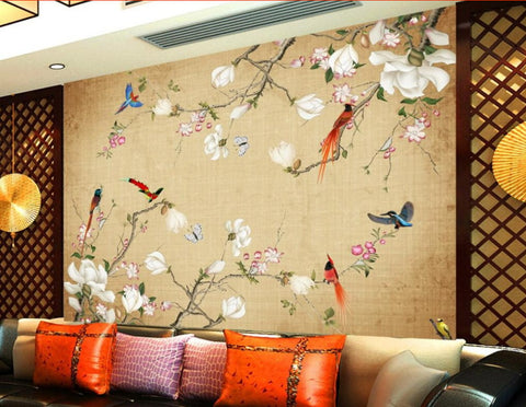 flowers birds wall mural