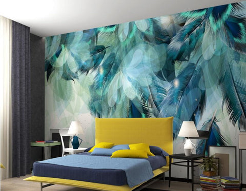 blue feathers wall mural