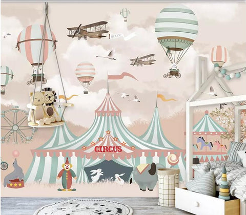 cartoon circus mural