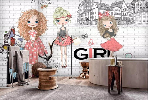 cartoon fashion girl wall mural