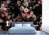 hand-painted flower theme wall mural