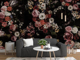 hand-painted retro style flowers wall mural