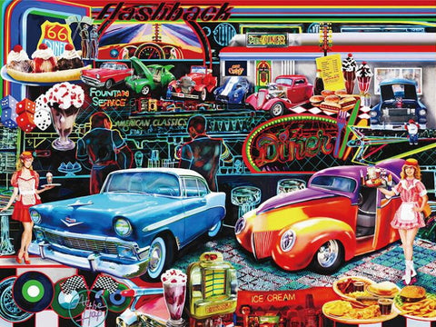 Retro 3d Flashback 50s Style Poster Wallpaper For Home Or