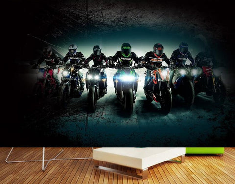 motorcycle racers wall mural