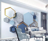 hexagon shape wall mural