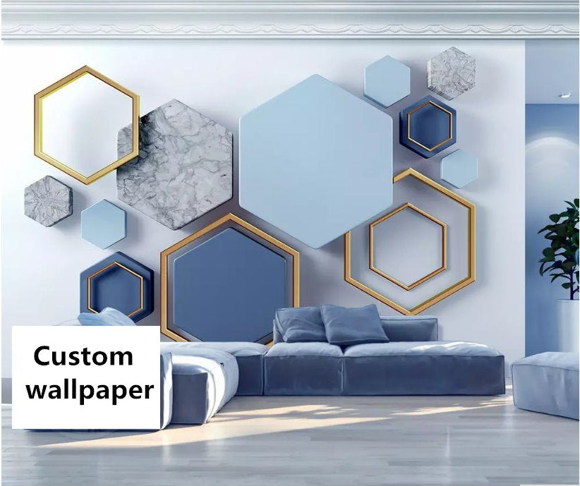 3D Abstract Design Blue Hexagon Shapes Wallpaper For Home