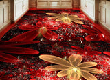 red abstract mural