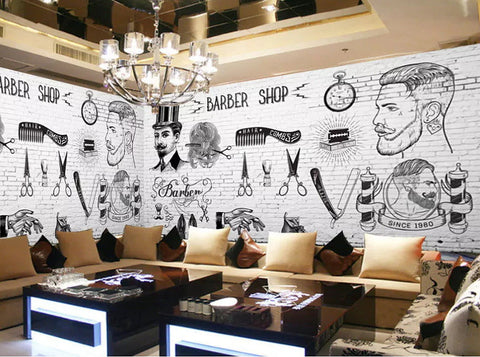 Stylish Black White Retro Barber Shop Design Wallpaper For