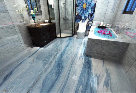blue marble self-adhesive floor wallpaper