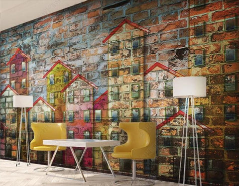retro brick graffiti wallpaper