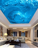 light blue swirling water ceiling mural