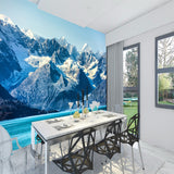 snowy mountains and ocean scene mural