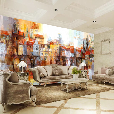 abstract buildings oil painting wall mural