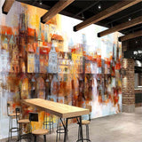 abstract oil painting colorful buildings wallpaper mural
