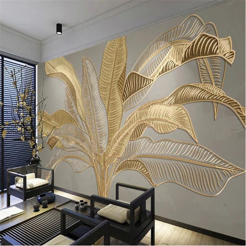 banana leaf gold lines wallpaper