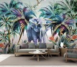 tropical plant elephant mural