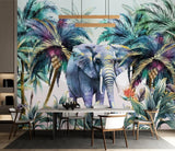 tropical plant elephant wallpaper
