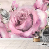 pink rose painted wall mural