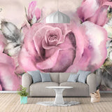 hand-painted pink rose wall mural