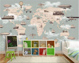 world map planes trains mural