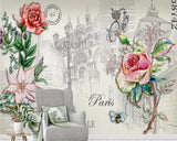paris postcard retro mural