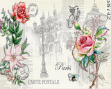retro paris postcard flowers mural