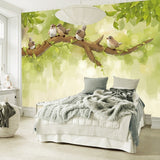 hand-painted birds tree branch wallpaper