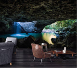3d cave opening waterfall pool mural