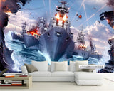 Pacific Ocean War battleships mural