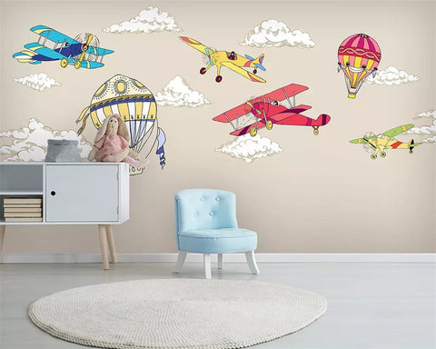 cartoon bi-planes wall mural