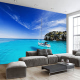 blue sea yacht wall mural