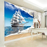 sailing vessel 3d nautical map wallpaper